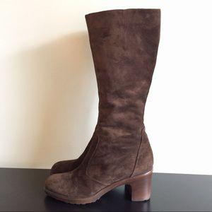 DANSKO Boots Tall Zipper Heeled Brown Suede